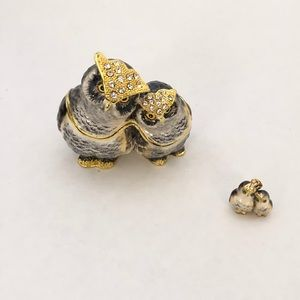 NWB Bejeweled Enamel Owl Trinket Box & Necklace